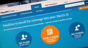 This image taken March 31, 2014 in Washington, DC shows the home page for the HealthCare.gov internet site. Today is the deadline day for uninsured Americans to sign up for coverage through US President Barack Obama's signature healthcare law, the Affordable Care Act.  AFP PHOTO / Karen BLEIER        (Photo credit should read KAREN BLEIER/AFP/Getty Images)